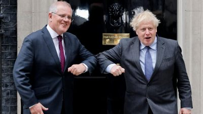 UK and Australian Prime Ministers strike in-principle trade deal over dinner