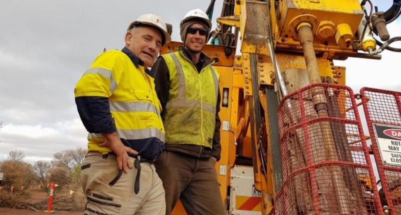 Iceni Gold (ASX:ICL) - Executive Chairman, Brian Rodan (left) with a member of the exploration team.